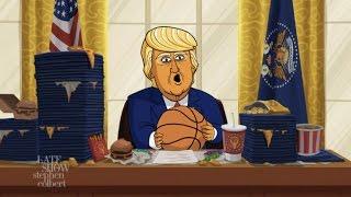 Cartoon Donald Trump Announces His March Madness Bracket Picks