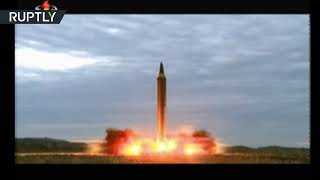 Moment N. Korea launched missile over Japan (state TV footage)