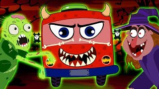 Halloween Wheels on the Bus Song with Dancing Monsters & Skeletons - Hindi Rhymes