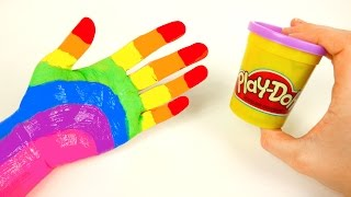 Learn Rainbow Colors with Play Doh and Body Paint