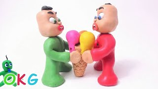 Green Baby Gets BIG ICE CREAM! In Fun Color Baby Superhero - Stop Motion Cartoons For Kids #33
