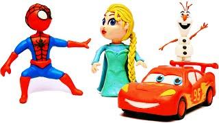 Spiderman wozi Flash Mcqueen i spotyka Księżniczkę Disneya Else z bajki Krain Lodu!