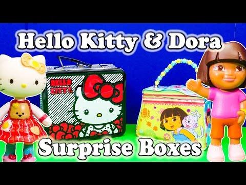 DORA THE EXPLORER & HELLO KITTY Surprise Boxes Toys Surprise Egg Video