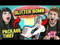 Adults React To Package Thief Vs. Glitter Bomb Trap Revenge Prank