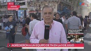 La agresión a Julio Bazán y el equipo de TN en la 9 de Julio