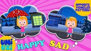 Umi Uzi | Learn Opposites | Cartoon Vehicles | Learning Videos | Opposites Songs