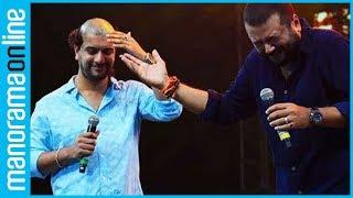 Jayaram gives Ramesh Pisharody a tonsure during public event