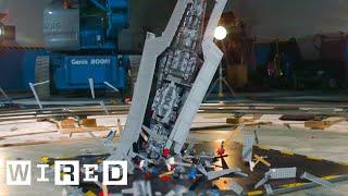 Giant Star Wars LEGO Super Star Destroyer Shattered at 1000 fps   Battle Damage