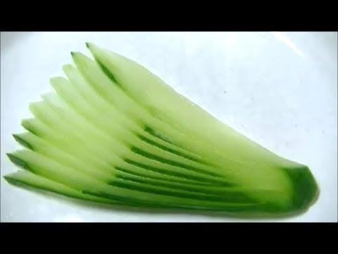 きゅうりの飾り切り 細工野菜の� �り方 Cucumber Carving  How to make Garnish
