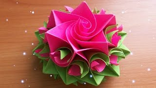 DIY Handmade Crafts. How To Make Amazing Paper Rose. Origami Flowers For Cards