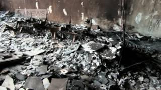 Inside a burnt Grenfell Tower flat