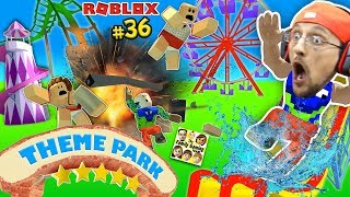 THEME PARK TYCOON! Roller Coaster Accident Roblox Fail!  FGTEEV Amusement Park Showcase Funny Glitch