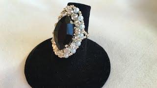 Crystal rhinestone and 15 o seed beads ring
