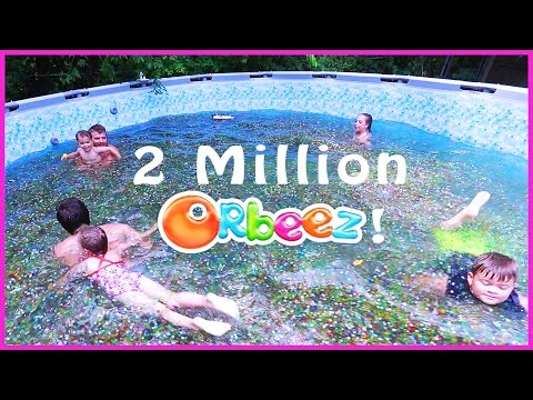 😂SWIMMING IN A FAMILY SIZE POOL OF ORBEEZ 🔮