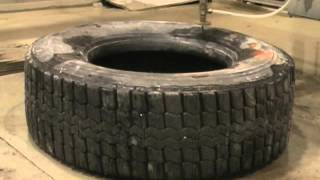 Water jet cutting tires for recycling