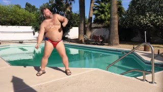 PART TWO - Big Bear dancing poolside to JT's hot new summer jam!...)