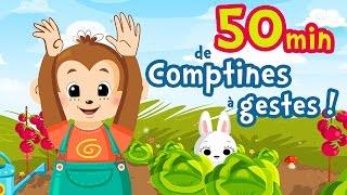50 min de comptines à gestes et chansons pour bébés [Petit escargot, Alouette Gentille Alouette...]