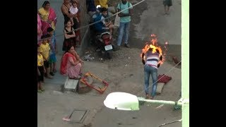 Indian Street Circus Desi Man Playing with fire Amazing Video