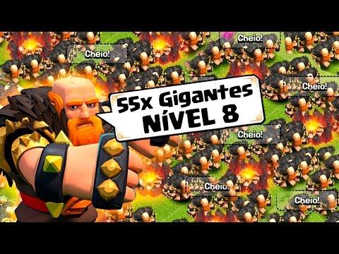 ATACANDO COM 55 GIGANTES NÍVEL 8 NO CLASH OF CLANS