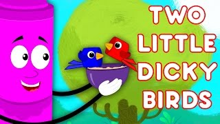 Two Little Dicky Birds Sitting On A Wall | Nursery Rhymes | Crayons Colors Song