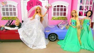 Barbie doll Wedding Dress Shopping Morning Gaun Pengantin Barbie Boneca Barbie Vestido De Noiva
