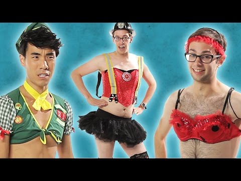 Men Try On Ladies Sexy Halloween Costumes Try Guys