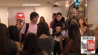 Dolan Twin Ethan and Grayson Dolan get mobbed by fans while arriving at LAX Airport in Los Angeles