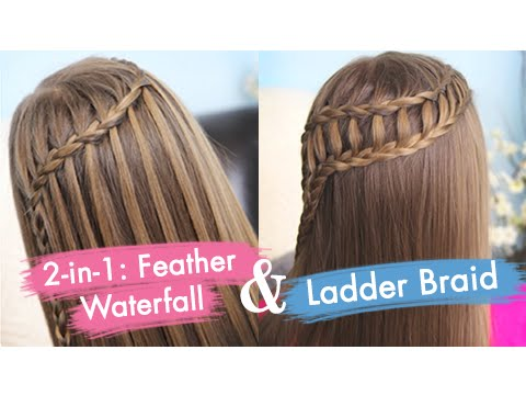 Feather Waterfall & Ladder Braid Combo Cute 2 in 1 Hairstyles