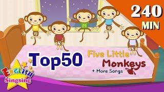 Five Little Monkeys + More Nursery Rhymes | Top 50 Kids songs with lyrics | English kids video