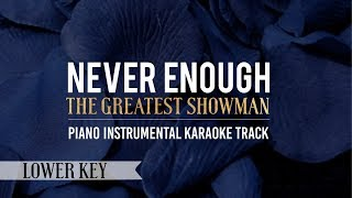 Never Enough (Lower Key) The Greatest Showman - Piano Instrumental Karaoke Track