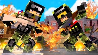 FLAMETHROWER  vs FLAMETHROWER! - Minecraft Mods (Flan