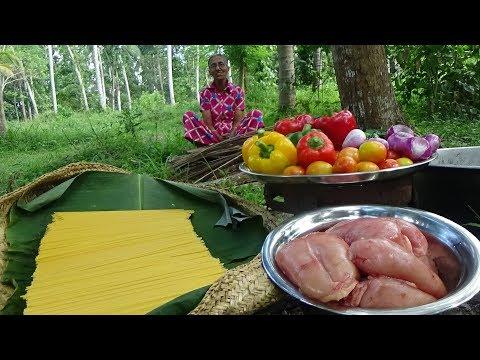 Spaghetti Recipe ❤ cooking Spaghetti with Chicken in my Village by Grandma