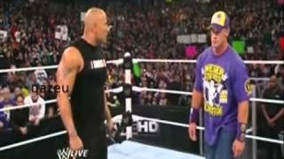 Goldberg vs The Rock and John Cena on raw جولدبيرج ضد روكي وسينا