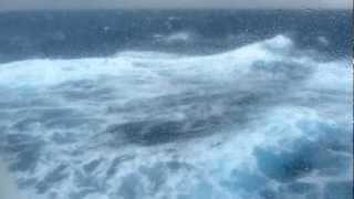 Cruise ship in rough weather, rough seas: Oceania Nautica in Force 11 Gale in Mediterranean 2012