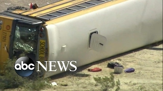 More than a dozen children are hospitalized after a bus crash in Las Vegas
