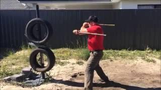 Kali/Arnis/Eskrima Tire Training by: GM Edward Mirasol Calado, Rapado style