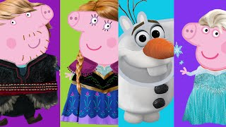 Peppa Pig transforms into Elsa Disney Frozen Characters ✿ Peppa Family Se Disfraza Frozen personajes