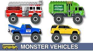 Learning Monster Vehicles Names & Sounds for Kids - Learn Monster Trucks, Cars, Fire Trucks & More