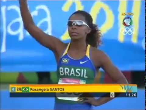Rosangela Santos ganha o ouro nos 100 m rasos.