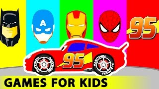 Red Truck and Cars Cartoon for Kids in Funny Race w Colors for Children