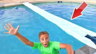 Duct Tape & Plastic Wrap Bridge On Backyard Swimming Pool!