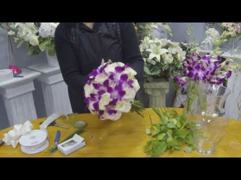 How to Make a Hand Tied Bridal Bouquet with Roses and Dendrobium Orchids