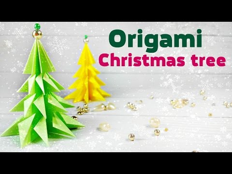 Origami christmas tree 3d made of paper easy tutorial for kids. Fir-tree origami Instructions