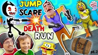 HELLO NEIGHBOR SPONGEBOB DEATHRUN vs. BENDY & THE INK MACHINE! Krusty Krab FNAF Jump Scares 4 FGTEEV