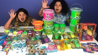MIXING ALL OUR STORE BOUGHT SLIMES - NEW SLIMES PART 1 - GIANT SLIME SMOOTHIE