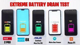 Honor 8X vs Realme 2 Pro vs MotoOnePower vs Zenfone Max Pro vs PocoF1 -EXTREME BATTERY DRAIN TEST 🔥