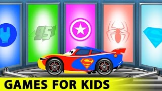 Lightning McQueen Funny Race in Cars Cartoon and Spiderman for Children with Learn Colors for Kids