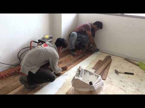 Installation of teak wood flooring