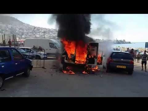 Voiture prend feu a bab el oued 28 06 2015