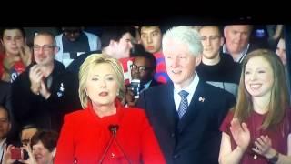 Sticker boy behind Hillary Clinton. Full video.